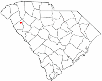 Due West, South Carolina - Image: SC Map doton Due West
