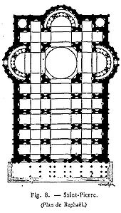 Plan 2. This plan has an extended nave with two aisles on either side of it, the main spaces of the church form a Latin Cross.