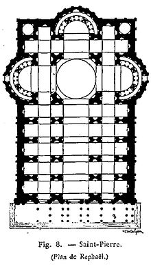 Plan 2. This plan has an extended nave with two aisles on either side of it. The main spaces of the church form a Latin Cross.