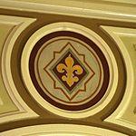 Saint Mary Catholic Church (Philothea, Ohio) - interior, fleur-de-lis medallion.jpg