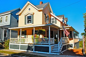 Salem Willows Historic District - An oceanfront home on Beach Ave with a view toward Salem Sound.
