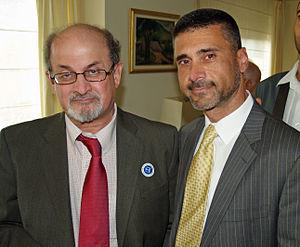 David Saranga - Sir Salman Rushdie and David Saranga at a breakfast honoring Israeli writer Amos Oz in New York City (September 2008).