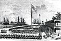 Salut der Reichskriegsflagge durch die nicaraguanischen Behörden 31. März 1878 Corinto im Hintergrund von links SMS Ariadne, SMS Elisabeth und SMS Leipzig. Zeichnung von Hermann Penner.jpg
