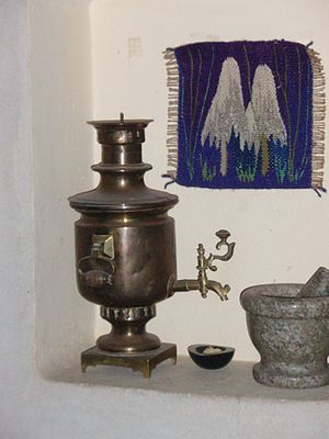 little Samovar of cylindrical type for home use