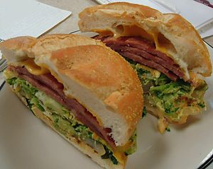 Pork roll - A sandwich featuring pork roll at a delicatessen in New Jersey