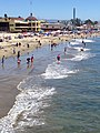Santa Cruz beach from wharf with people on sand.JPG