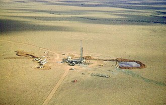 Innamincka, South Australia - Santos drill rig near Innamincka in Cooper Basin, 1959