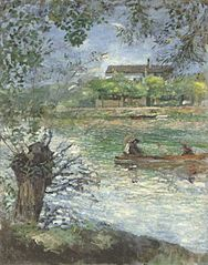 Willows and characters in a boat