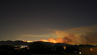 Sayre Fire - The Sayre fire as seen from Santa Clarita on November 15, 2008