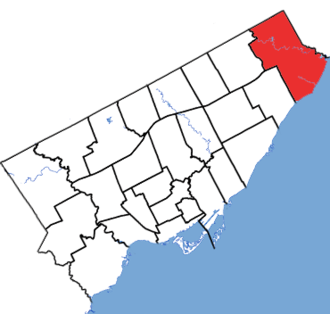 Scarborough—Rouge Park (provincial electoral district) - Scarborough-Rouge Park in relation to the other Toronto ridings (2015 boundaries)