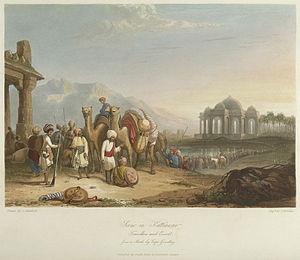 "Charles Bentley (painter) - Engraving of ""Scene in Kattiawar, Travellers and Escort"", India."