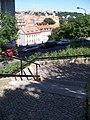 Schodiště od Kongresového centra do Nuselského údolí, výhled k žižkovské věži.jpg