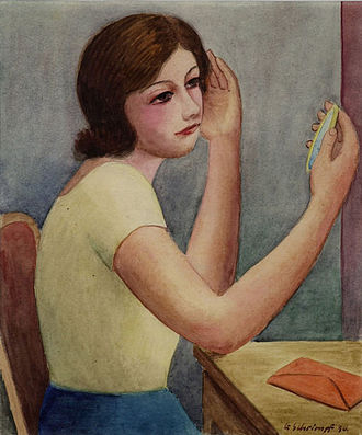 Georg Schrimpf - Girl with mirror, 1930 (watercolor, 29 x 25 cm), private collection, Germany