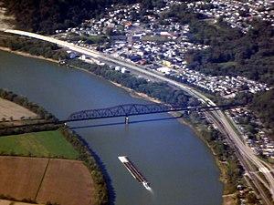 Sciotoville Bridge - Aerial view of the bridge and surroundings