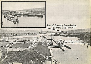 "Salmon Bay - In 1919 the Fishermen's Terminal was known as the ""Salmon Bay Terminal"""