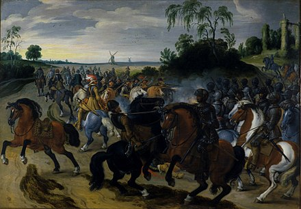 Cavalry engagement from the struggle of the Dutch against Spain Sebastiaan Vrancx - Reitergefecht am Fuss eines Hugels.jpg