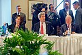 Secretary Kerry, With Assistant Secretary Jacobson and U.S. Ambassador Heyman, Sit Before His First Trilateral Session With Canadian Foreign Minister Dion and Mexican Foreign Secretary Ruiz Massieu in Québec City (24596967491).jpg