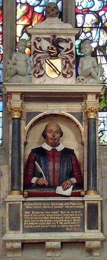 Shakespeares Grabmonument in der Holy Trinity Church in Stratford-upon-Avon (Quelle: Wikimedia)
