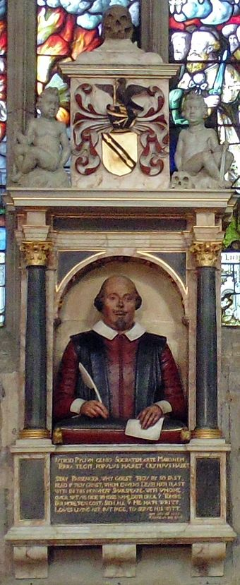 Shakespeare's funerary monument in Stratford-upon-Avon ShakespeareMonument cropped.jpg