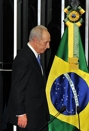 Brazil–Israel relations - Israeli President Shimon Peres at the Brazilian Chamber of Deputies in 2009.