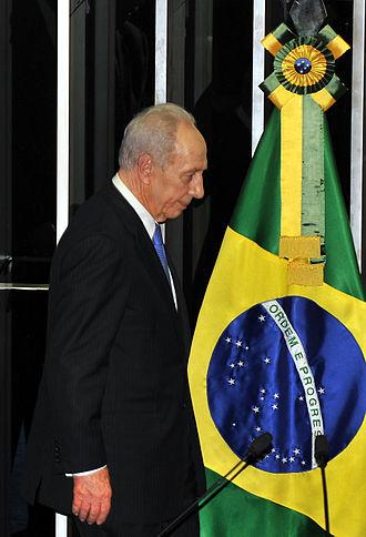 Brazil–Israel relations - Israeli President Shimon Peres at the Brazilian Chamber of Deputies in 2009.