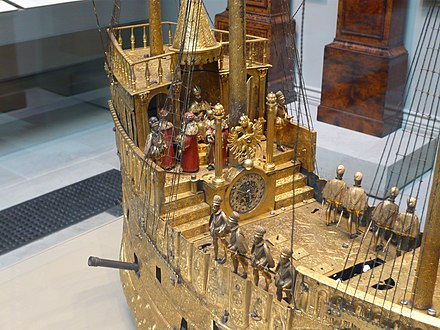 The Mechanical Galleon that Morgan gave to the British Museum. Ship Clock at British Museum.jpg