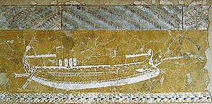 Hellenistic-era warships - Graffiti from the Greek colony of Nymphaion in the Crimea, depicting a heavy polyreme of the 3rd century BC, with fore- and aft-castles.