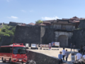 Shuri Castle main gate and charred roof two days after the 2019 fire.png