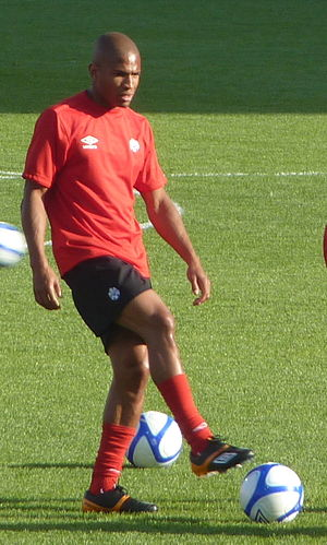 Simeon Jackson - Jackson warming up before a match against Ecuador at BMO Field on 1 June 2011