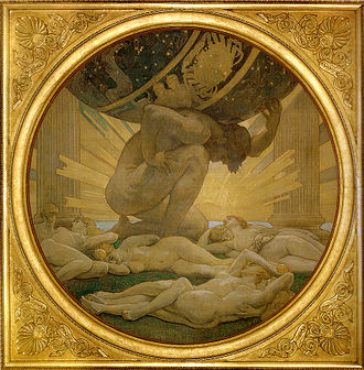 Atlas (mythology) - Atlas and the Hesperides by Singer Sargent, John (1925)