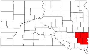 Sioux Falls, South Dakota metropolitan area - Map of South Dakota highlighting the Sioux Falls Metropolitan Statistical Area.