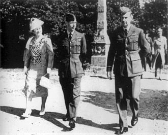 Bentley Priory - Air Chief Marshal Sir Hugh Dowding accompanying King George VI and Queen Elizabeth during a visit to Bentley Priory in September 1940.