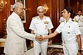 Six women officers of The Indian Navy, who successfully circumnavigated the globe on the sailing vessel, INSV Tarini, call on President Ram Nath Kovind (5).jpg