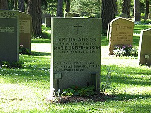 Marie Under - Under and Adson's graves in the Skogskyrkogården in Sweden.