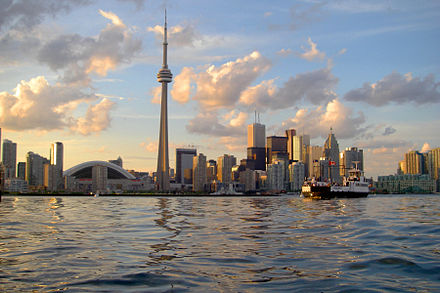 Toronto was selected by the Canadian Olympic Committee as the official bid city from Canada for the 2015 Pan American Games Skyline of Toronto viewed from Harbour.jpg