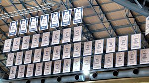 North Carolina Tar Heels men's basketball - The Jerseys in the rafters.