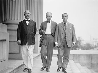 Albert B. Fall - Fall (center) with U.S. Senators Marcus A. Smith (left) and Frank B. Brandegee (right) in 1918