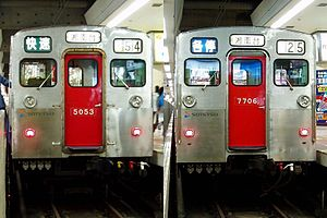Sotetsu 7000 series - 7000 series (right) and 5000 series EMUs