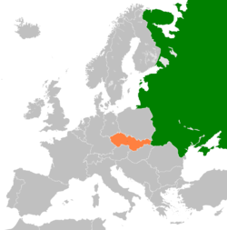 Map indicating locations of Soviet Union and Czechoslovakia