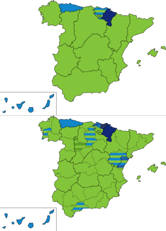 Spanish general election, 1901 - Most voted party by regions and provinces.