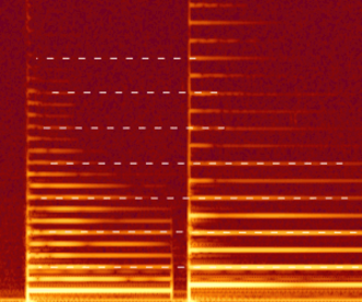 Musical acoustics - A spectrogram of a violin playing a note and then a perfect fifth above it. The shared partials are highlighted by the white dashes.