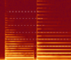A spectrogram of a violin playing a note and then a perfect fifth above it. The shared partials are highlighted by the white dashes.