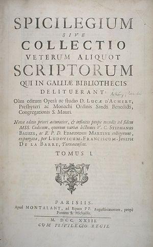 Luc d'Achery - Spicilegium sive collectio veterum aliquot scriptorum (1723 edition), title page.