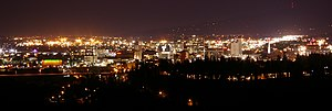The city of Spokane at night, as viewed from t...