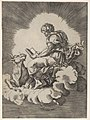 St. Luke, seated on a cloud with an open book in both hands, a bull lying at his feet, from a series of the four evangelists after Agostino Veneziano, which are in turn after Giulio Romano MET DP832537.jpg