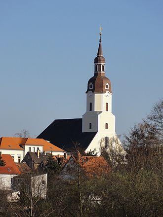 Taucha - Image: St. Moritz Kirche in Taucha Blick von Gutenbergstraße panoramio