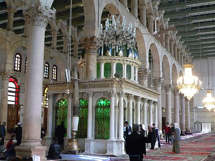 John Paul II was the first Pope to enter and pray in a mosque, visiting the tomb of John the Baptist at Damascus' Umayyad Mosque. StJohnInUmmayad.jpg
