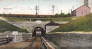 St. Clair Tunnel - View of the original tunnel (closed in 1994) from a 1907 postcard