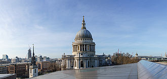 One New Change - St Paul's Cathedral dome from the roof terrace.