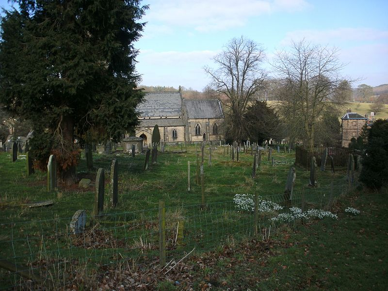 File:St Peter's Churchyard, Edensor - view from Cavendish family plot down to church.jpg